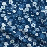 blue japanese abstract floral fabric