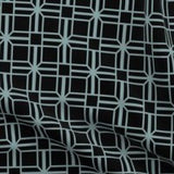 black and teal geometric fabric