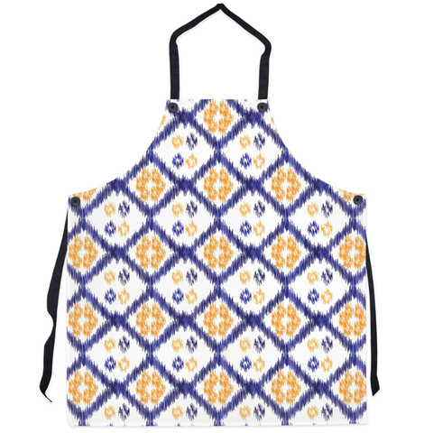orange and blue kitchen apron
