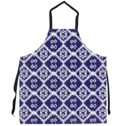 blue and white print kitchen apron