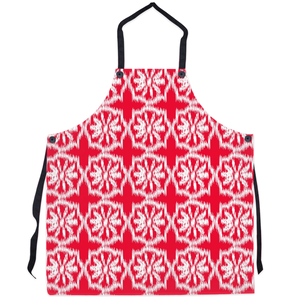 festive red and white kitchen apron