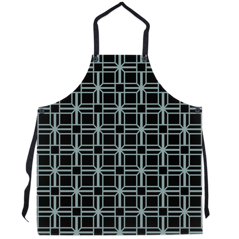 black patterned kitchen apron