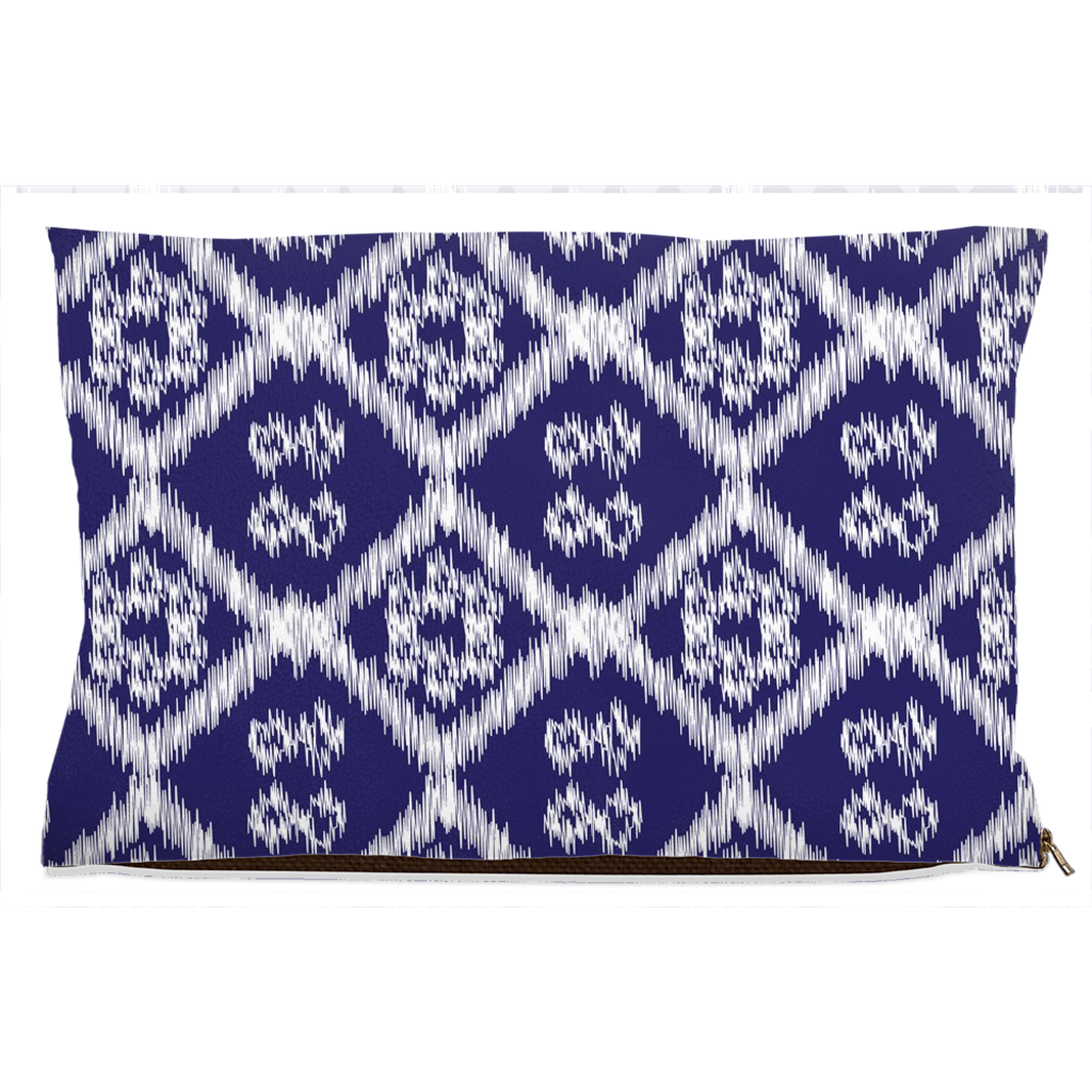 dog bed with blue and white pattern
