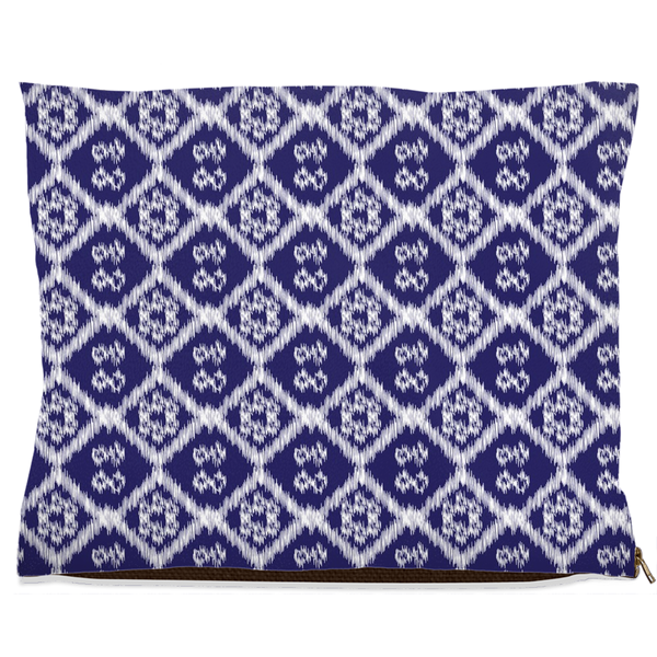 large dog bed with blue and white ikat pattern