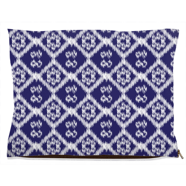medium dog bed with ikat pattern