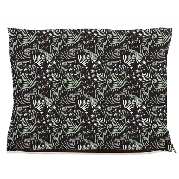 decorative dog bed with woodland pattern