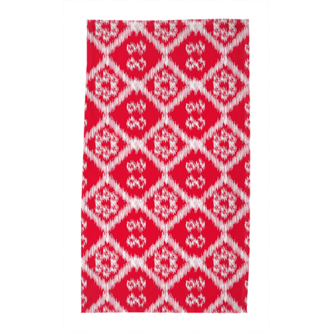 White on Red Buton Tea Towel