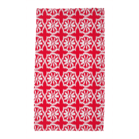 White on Red Lombok Tea Towel