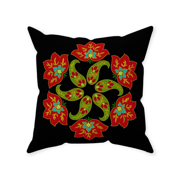 Caravan Paisley Snowflake Throw Pillow