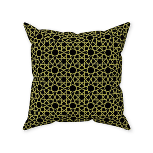 Green and Black Geometric Throw Pillow