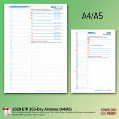 ETP Dated 365-Day Planner PDFs for 2020