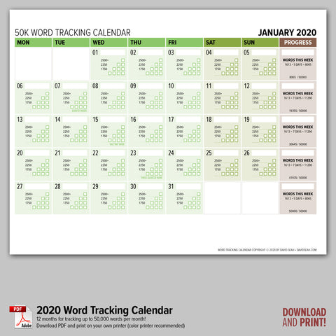 Word Tracking Calendar 2020 (Downloadable PDF)