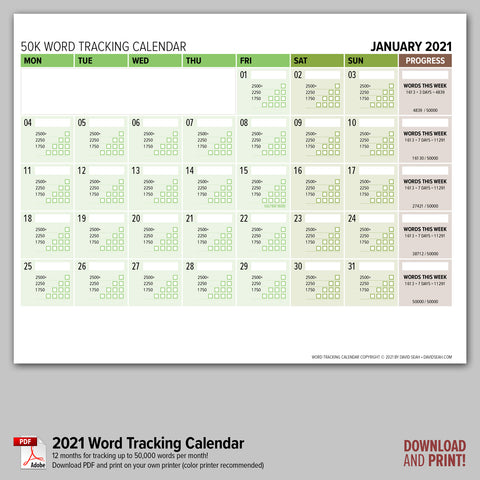 Word Tracking Calendar 2021 (Downloadable PDF)