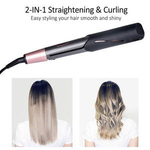 Hair Straightener Flat Iron Professional 2 in 1 Twist Hair Curling & Straightening Electric Hair Curler - MomProStore