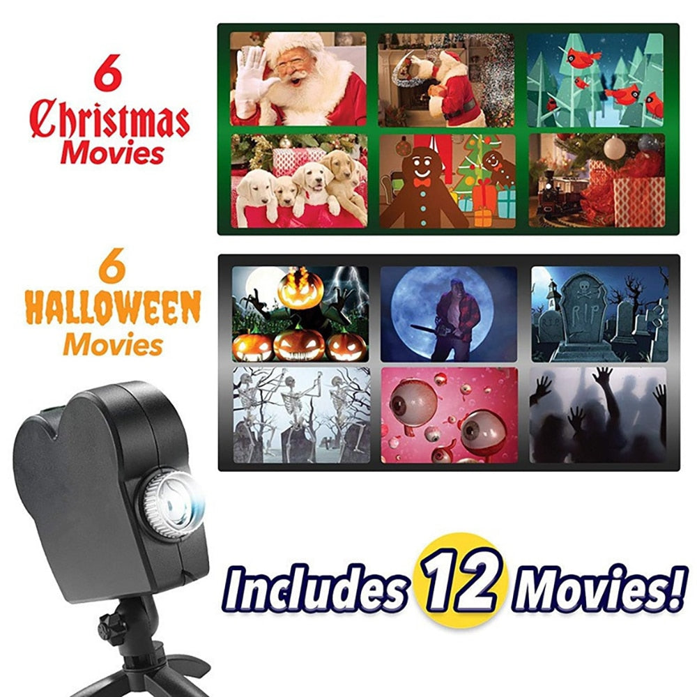 Christmas Halloween Laser Projector 12 Movies Disco Light