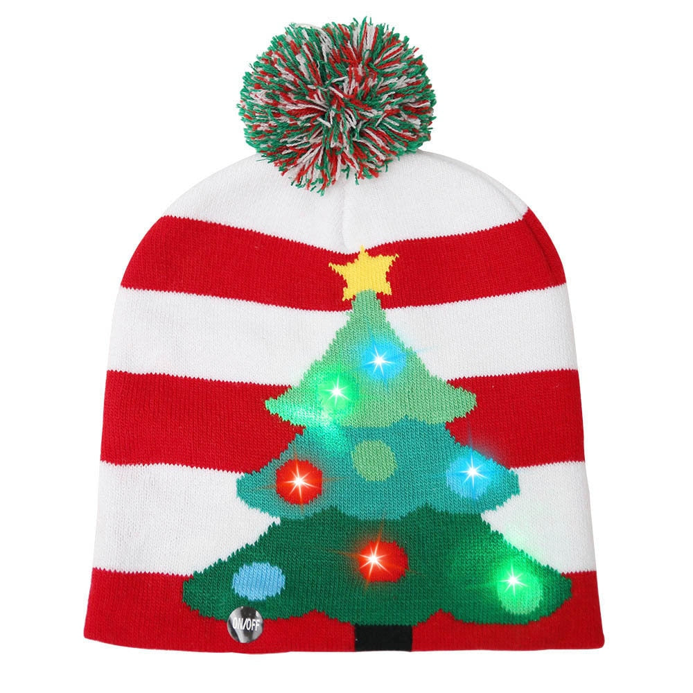 LED Light Up Christmas Hat Warm Bright Colorful Xmas Knitted Cap