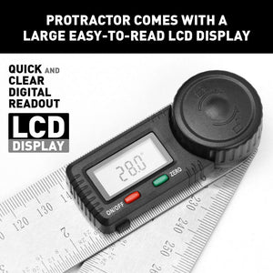 "Electronic Digital Angle Finder 8"" Protractor Ruler Stainless LCD"