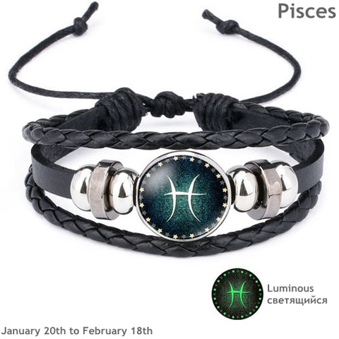 Luminous Leather Men's & Women's Bracelet 12 Constellation Charm - MomProStore