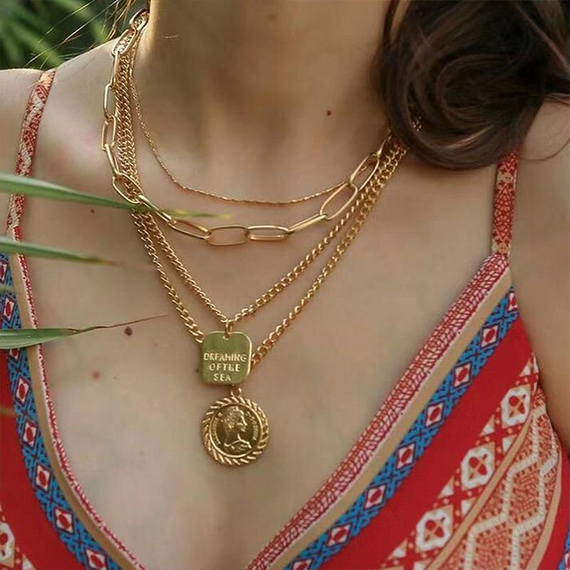 Carved Queen Head Bohemian Coin Gold Necklace Retro - MomProStore