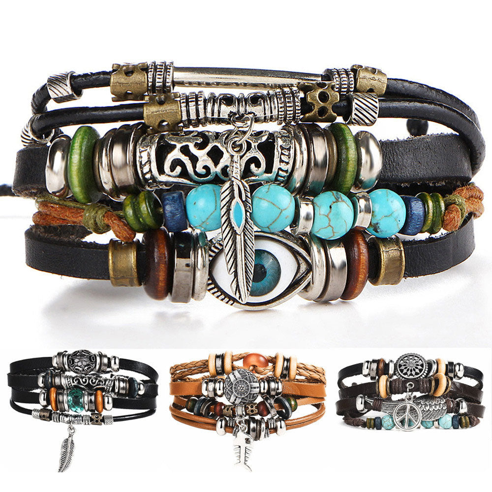 Fish Eye Vintage Punk Multi layer Leather Bracelet charm 2pcs. - MomProStore