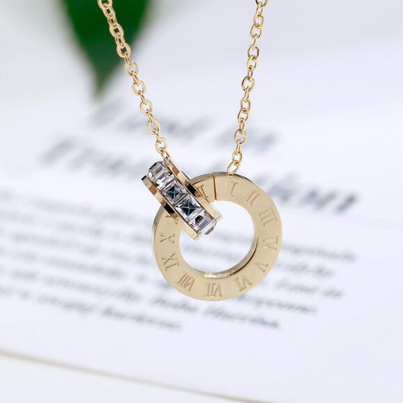 Roman Numerical Necklaces Two Circle Austrian Crystal Love Pendant