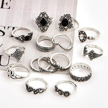 Load image into Gallery viewer, Anniversary Bohemian Retro Crystal Silver 15Pcs Ring set - MomProStore
