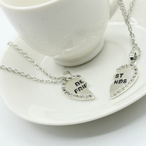 2 Pcs Best  Friend Necklace Crystal Heart Pendant