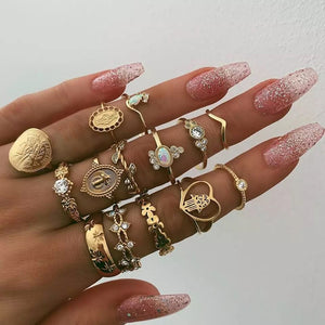 Tocona 15 Pcs/set Boho Virgin Mary Gold Rings