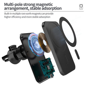 15w Magnetic Car Wireless Charger Phone Stand For Iphone 12 ProMax 12Mini Car Holder