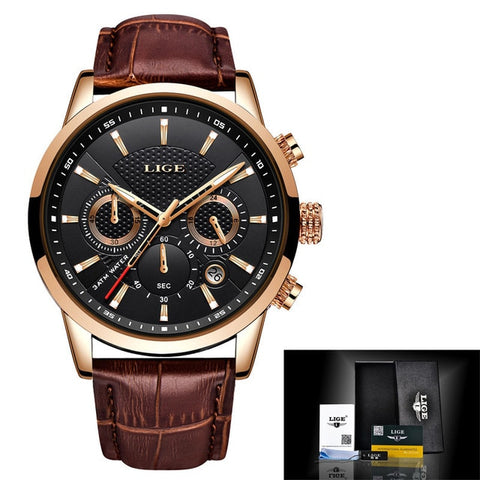 Men Fashion Quartz Sport Watch Leather Band Waterproof - MomProStore