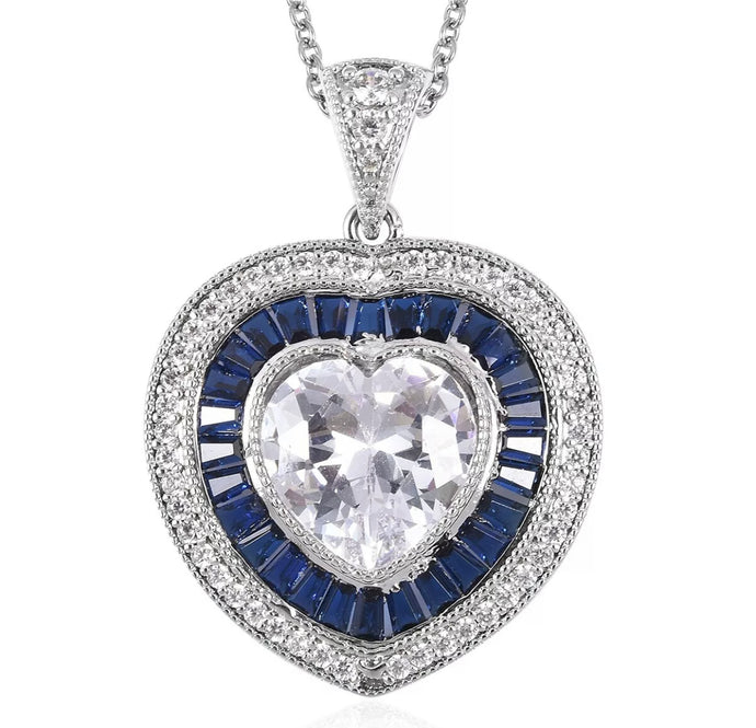 Heart Pendant Necklace White Blue Cubic Zirconia CZ Gift for Women Size 20