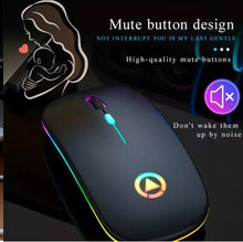 Load image into Gallery viewer, 2.4ghz wireless optical mouse usb chargeable RGB cordless mice for pc or laptop