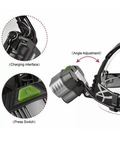 250000LM 6X Led Headlamp Rechargeable Headlight FlashLight Lamp
