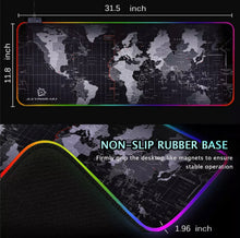 "Load image into Gallery viewer, RGB Extra Large Gaming Mousepad WorldWide Map 31.5""X 12"""