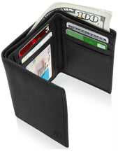 Load image into Gallery viewer, Real Leather Men's Wallet Slim Trifold ID Window RFID Blocking