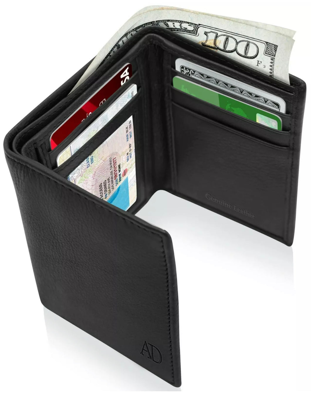 Real Leather Men's Wallet Slim Trifold ID Window RFID Blocking