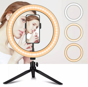 "10"" LED Ring Light with Tripod Stand & Phone Holder Dimmable Kit"