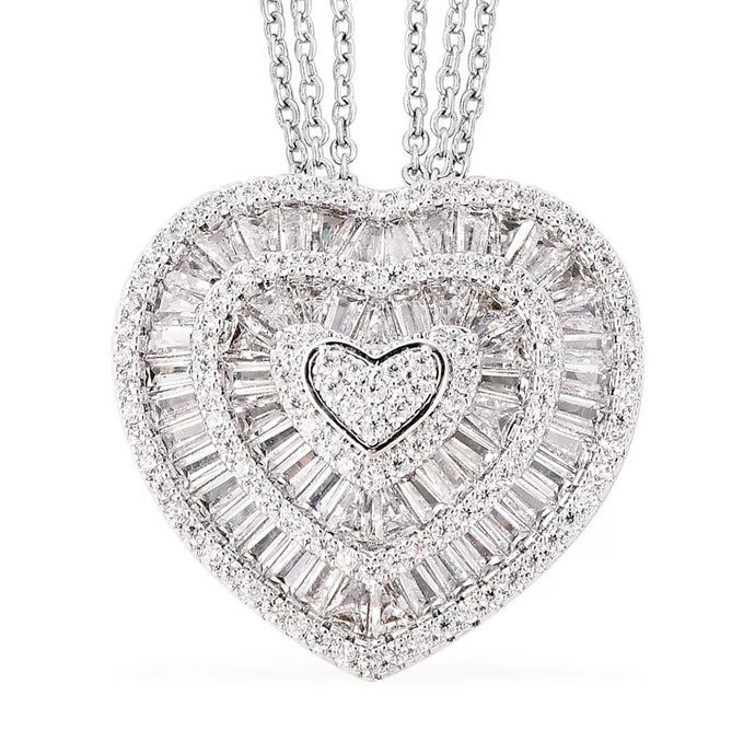White Cubic Zirconia CZ Triple Strand Valentine Heart Chain Pendant Necklace 20