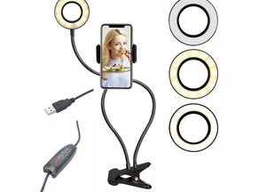 Led Selfie Ring Light With Holder Flexible Stand Long Arm Lamp For Live Stream