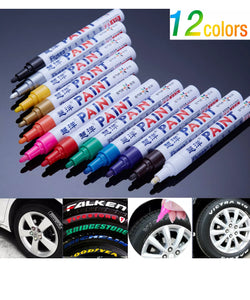 12x Permanent Waterproof Marker Paint Pen for Tire Tyre Car Glass Rubber