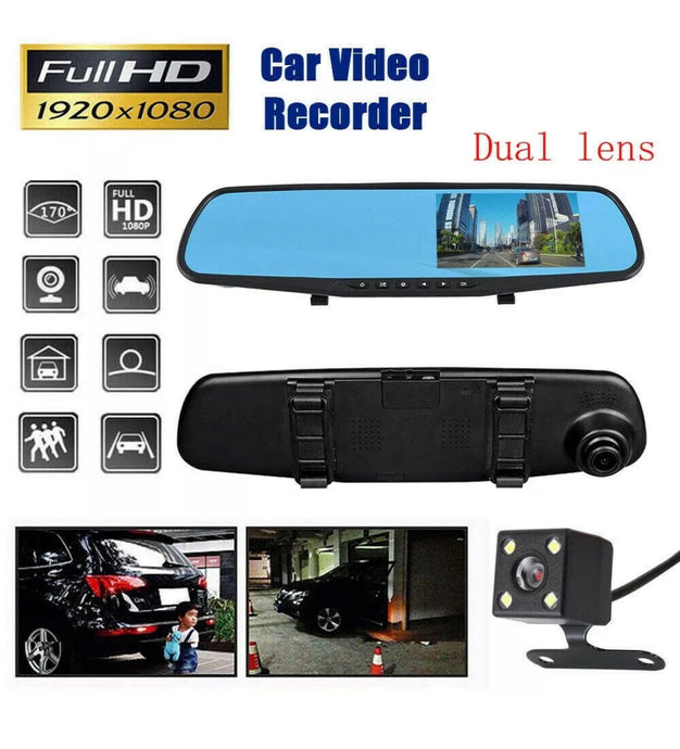 4.3 inch HD 1080p Car DashCam Camera Front Rear Mirror DVR Recorder Dual Lens