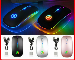 2.4ghz wireless optical mouse usb chargeable RGB cordless mice for pc or laptop
