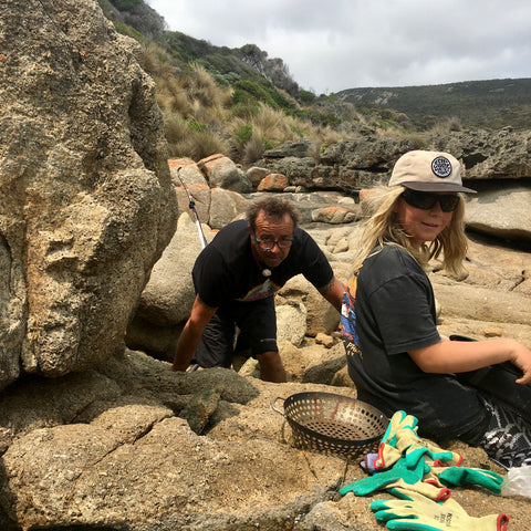 Family Fossicking for our Business Rare and Beautiful Killiecrankie Bay Flinders Island.