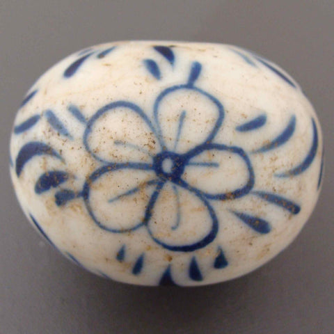 Antique blue and white bead