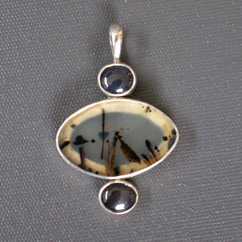Sterling silver Pendant with Agate and star Spinels