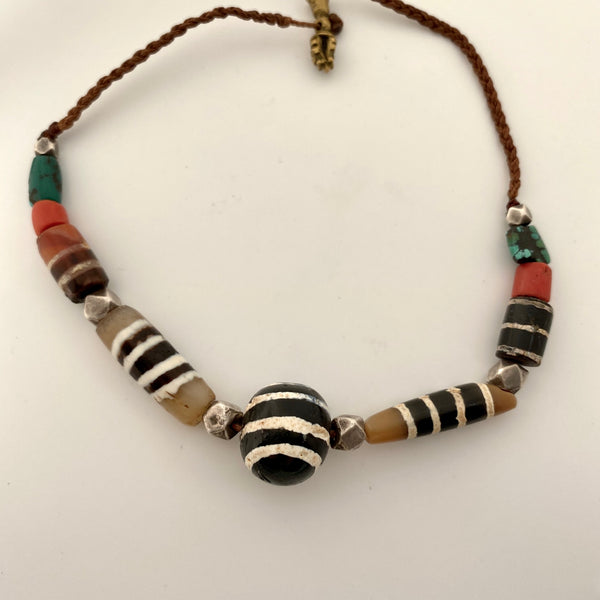 Superb Ancient Ghost eye and Chung Dzi necklace
