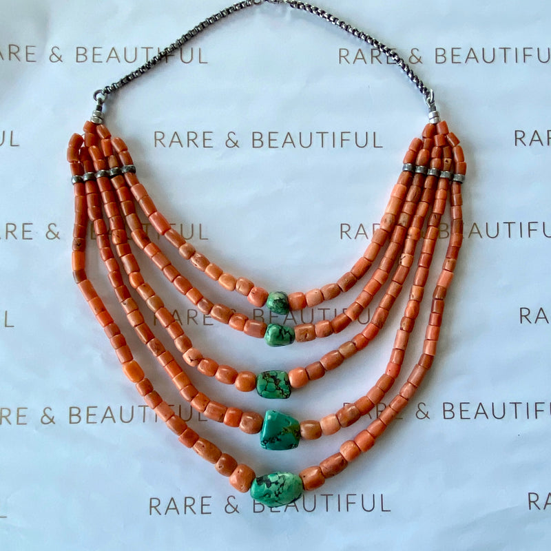Tibetan coral and turquoise necklace