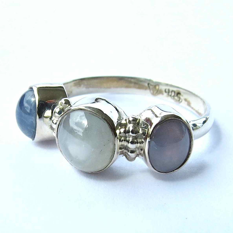 Sterling silver and 3 star sapphire ring