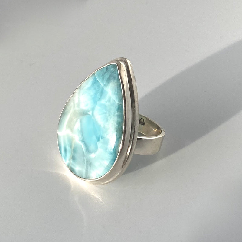 Large Pear Larimar Ring