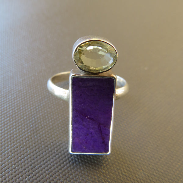 Natural Sugilite and citrine Ring